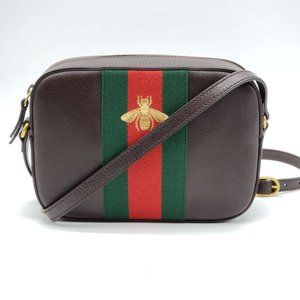 Authentic Gucci Bee Camera Brown Crossbody Bag